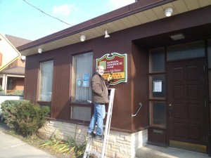 Mr. Creech putting up our new signs, 2012. Thank you Don!! Great job!