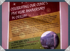 Our 5 year Clinic Anniversary Announcement placed in The Packet and Times, Thursday, November 12th, 2015. Thank you Nicole Parkes for creating it. You did a great job!